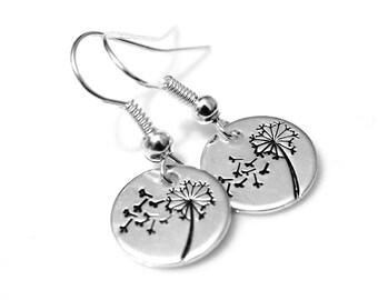 Dandelion Earrings, Hand Stamped, Wish Earrings, Sterling Silver Earrings, Wish Dandelion, Dangle Earring, Charm Earrings