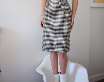 60's Gingham Pencil Skirt