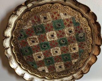 "Vintage Italy Italian Florentine Gold Gilt Wood Tray  12.5"""