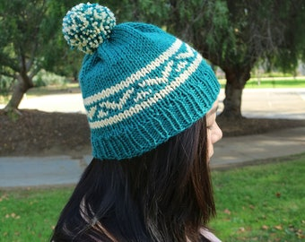 Teal Necole Beanie, Tribal Fair Isle Beanie, Slouchy Beanie, Slouchy Hat, Winter Toque, Pom Beanie, Knit Hat, Hand Knit Beanie