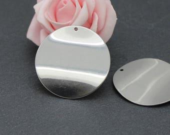 2 pendants wavy disc BR609 36 mm stainless steel