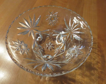 Anchor Hocking, Candy Dish, Vintage Glass, Glass Dish, Star of David, Clear Glass Dish, Footed Dish, Home Decoration, Home Deco, Candy Bowl