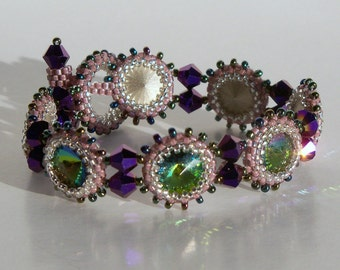 Bezeled Rhinestone Bracelet - Purple
