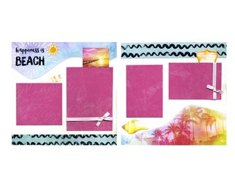 Premade Scrapbook Page Set - Happiness is a Day at the Beach