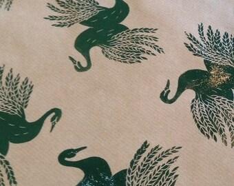 Hand Printed Gift Wrap, Hand printed swan, hand printed swans, Gift wrap, swan gift wrap, luxury gift wrap, Luxury gift paper,  linocut swan