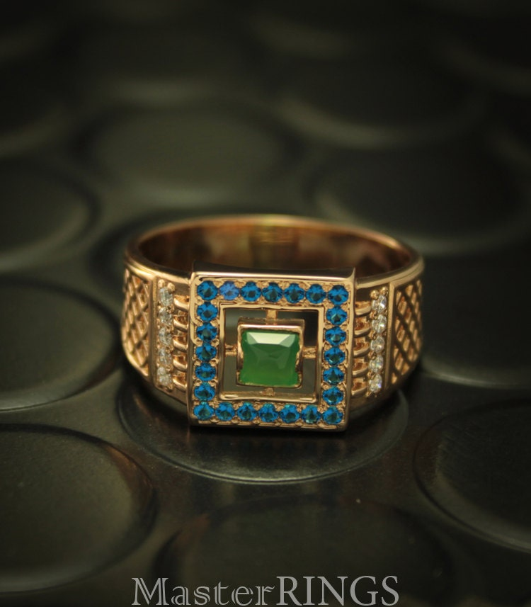 Gold unique signet ring Men gold ring Square signet ring