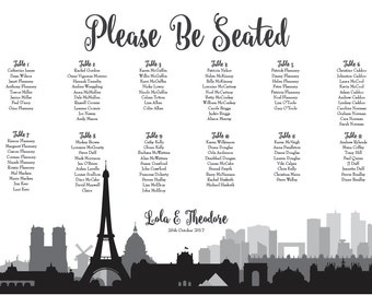Paris Seating Chart Printable Digital Design PDF Custom Personal Poster Print File ONLY Seat Map France Skyline Guest Assignment