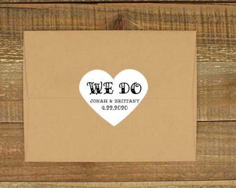 Wedding favor labels, set of 15 heart shaped sticker, personalized sticker, envelope seal, tattoo style, We Do, White or Kraft Brown, custom