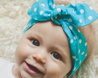 "Baby Bow Headband, Baby Girl Headband, Blue Polka-Dot, Baby Knot Headband, ""Anniston"""