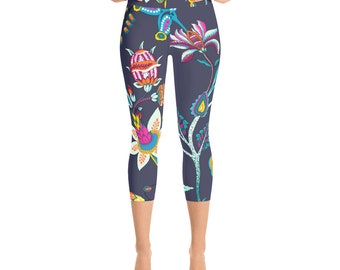 Silky Soft ~ Super Comfy ~ Moisture-Wicking ~ Ornate Floral Yoga Capri Pants