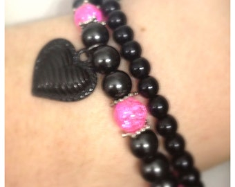 Black glass, pearl beaded Stretch Bracelets, with heart charm and pink glass beads. Set of 2