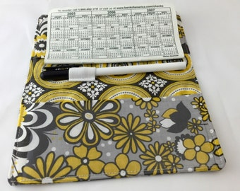 Yellow Duplicate Checkbook Cover Register - Grey Duplicate Checkbook Reigster - Fabric Checkbook Cove  Riley Blake Red Parisian Main Yellow