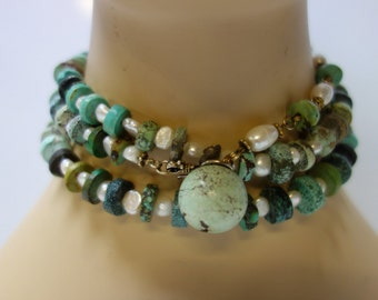 Turquoise & Freshwater Pearl Sautoir Necklace or Belt
