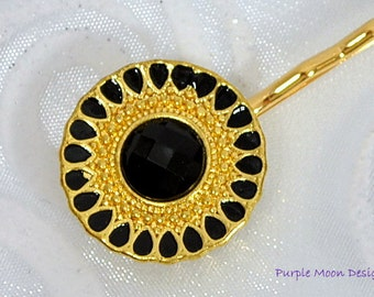 Gold Black Hair Pin, Elegant Hair Clip, Black Bobby Pin, Gold Hair Beads