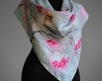 Hand painted silk scarf with waxbirds and ashberries. Jacquard silk scarf. Light grey scarf. Square silk scarf. Made to order.