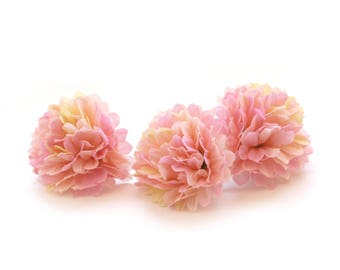 Small Cream Pink Carnations - 25 count - Artificial Flowers, Silk Flowers