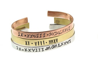 Custom Hand Stamped Cuff - Roman Numeral Bracelet | Personalized Cuff  | Copper Aluminum or Nu Gold | Expressions Bracelets Gifts for Her