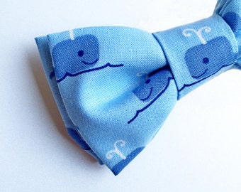 Baby Blue Bow tie - Blue Bow tie -Whale Bow tie - Pre-tied Bow tie
