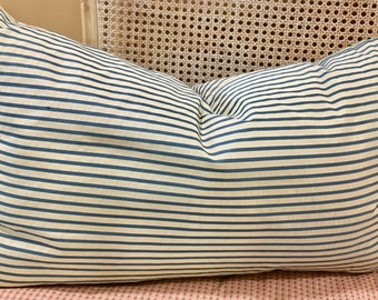 Blue & White Striped 16x26 Silk Pillow