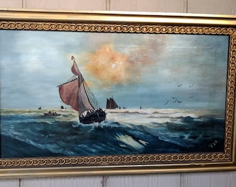 Antique oil on canvas seascape painting signed eep signed