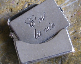 2 Small Antique Silver Brass C'est La Vie Smooth Envelope Finding 746C