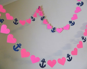 Nautical Bridal Shower Decorations / 10ft Anchors Hearts Garland / Navy and Hot Pink Bridal Shower Decor / Anchor Banner your color choice