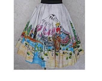 Vintage Mexican Circle Skirt /  1950s Hand Painted Novelty Print Souvenir Skirt