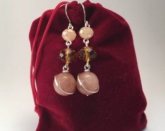 Handmade long dangle earrings made with crystal, agate stone and silver copper wire; in brown