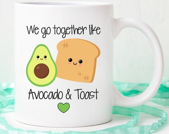 Avocado and toast mug, we go together like avocado mug, we belong together like mug, avocado mug, avocado gift, avocado lover gift, friend