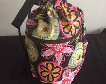 Project Bag Knitting Crochet - Laminated - Carnival Bloom