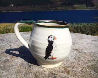 Pottery Coffee mug ceramics cup puffin