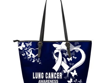 Lung Cancer Awareness Leather Tote Bag
