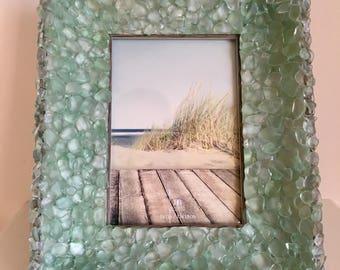 Beach Decor Sea Glass Picture Frame Nautical Decoration Beach Glass Frame / Sea Glass Frame
