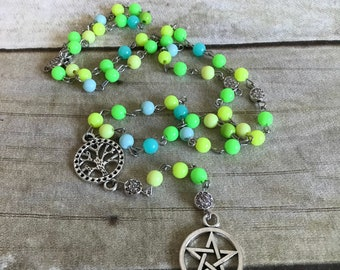 Cool scale pagan rosary, pentacle jewelry, pagan prayer beads, witch gift, wiccan necklace, handmade, one of a kind