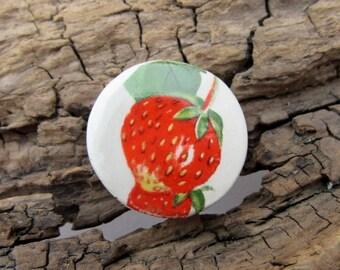 Red Strawberry Ceramic Coin Pendant