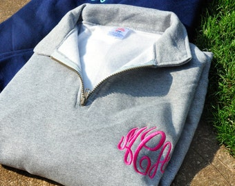 1--Quarter Zip Monogram Sweatshirt