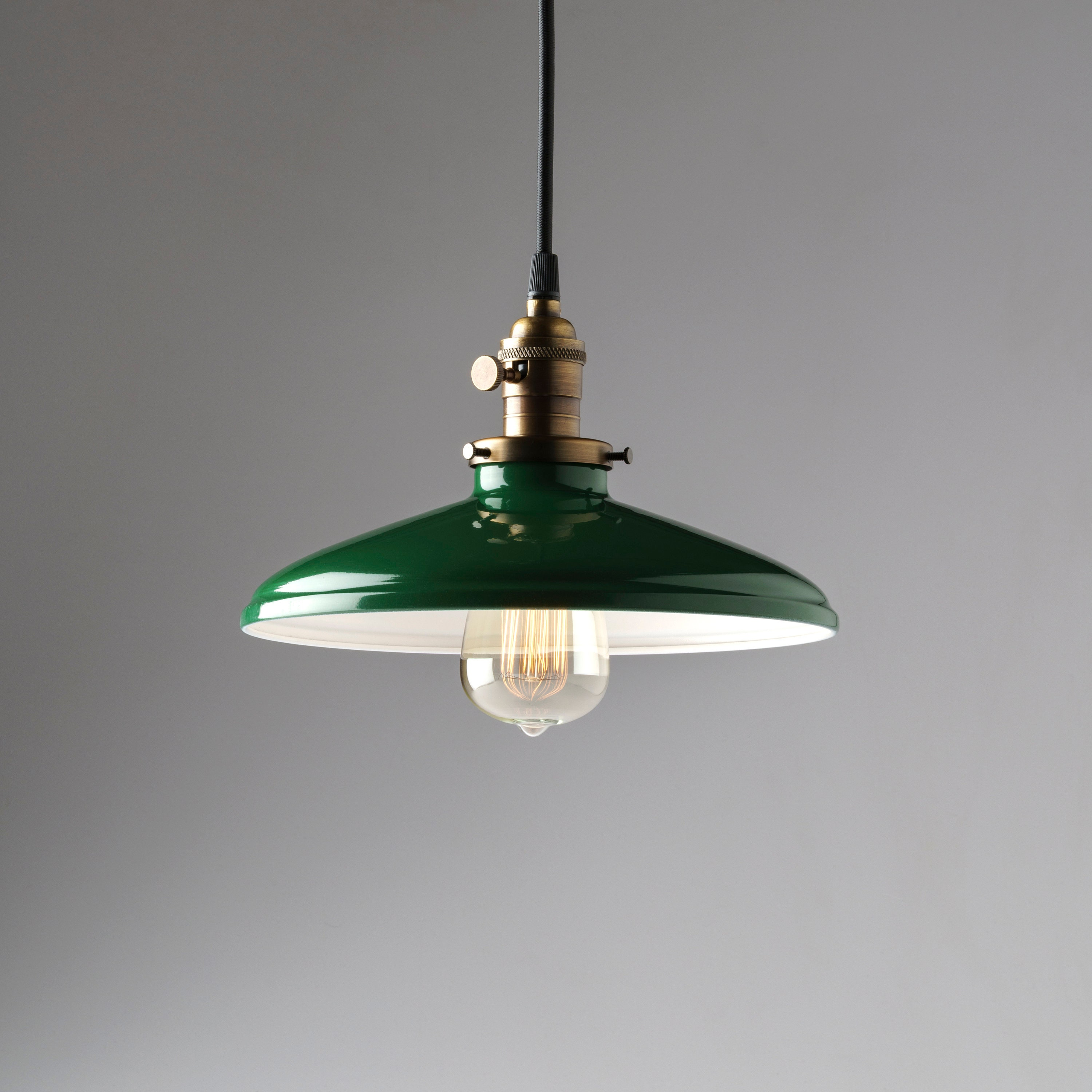 Vintage And Industrial Lighting From Etsy: Pendant Light Fixture Green Vintage Style Industrial Metal