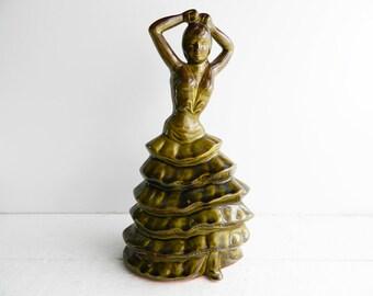 Vintage Large Ceramic Flamenco Dancer Figurine - Olive Green Pottery - Spanish Woman Statue