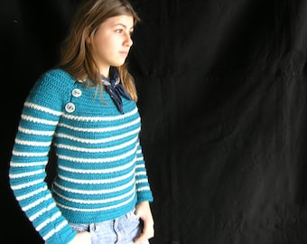 Marin d'Odouce sweater - Crochet pattern in pdf to make striped mariniere-style sweater for women