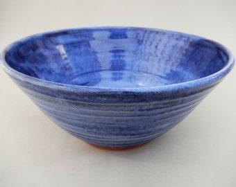 Ceramic Handmade Blue Bowl - Unique Artistic Pottery Serving Bowl