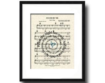 Stand By Me Song Lyric Sheet Music Art Print, Custom Music Art, Names and Date Art, First Dance Art, Love and Friendship Art