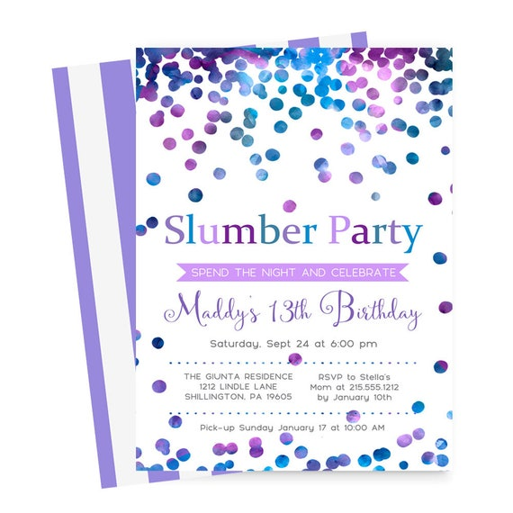 Confetti Slumber Party Invitations Girls Sleepover Birthday