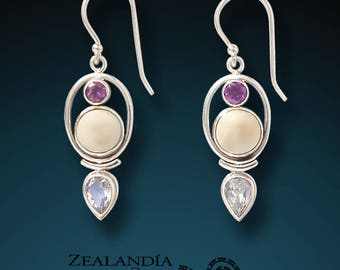 Finding Balance - Hand Carved Tagua Nut Earrings with Amethyst