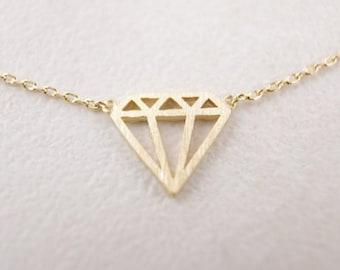 Diamond / Outline / Geometric / Necklace / Pendant / Gold / Hipster / Trendy / Everyday / Simple / Dainty / Minimalist / Petite