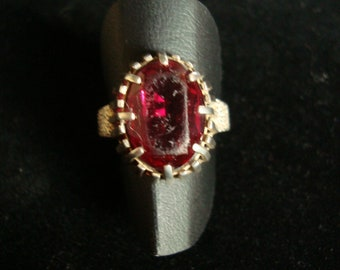 Vintage silver ring with a big red ( CZ? ) stone from my private collection