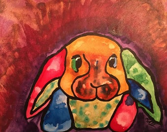 "cute bunny painting 8""x10"""