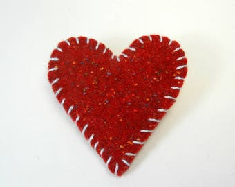 Wool Heart Pin, Red Heart Pin, Upcycled Wool Brooch, Heart Shaped Felted Wool Pin, Felt Brooch