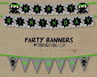 Ninja Happy Birthday Party Banner - DIY Digital U Print - Instant Download