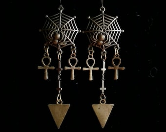 anhk, PRAISE ISIS, long egyptian earrings, goth, gothic, ishtar, cleopatra, inverted cross, spider web, gothic jewelry, the hunger, vampire
