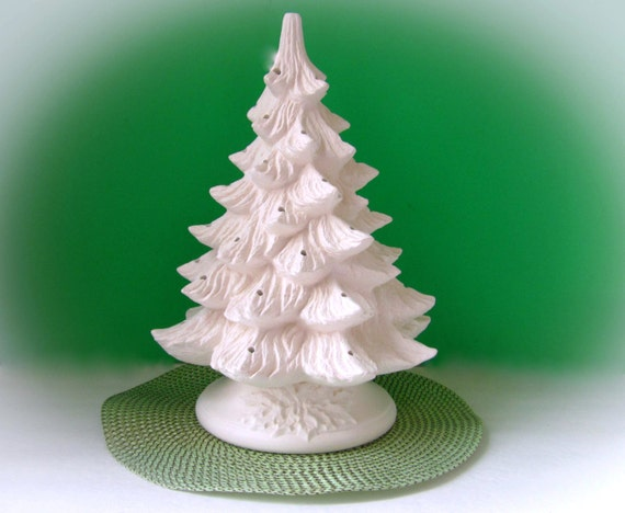 Ceramic Christmas Tree Unpainted Bisque With Holly Leaf